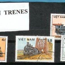 Sellos: LOTE DE SELLOS DE VIETNAM. LOCOMOTORAS. Lote 203018383