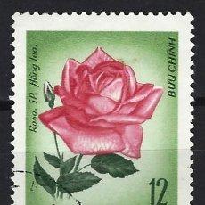 Sellos: VIETNAM DEL NORTE 1968 - FLORES, ROSA ROJA - SELLO USADO. Lote 207860020