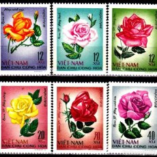 Sellos: VIETNAM DEL NORTE 1968 - FLORES - ROSAS - YVERT Nº 586/591**. Lote 207875673