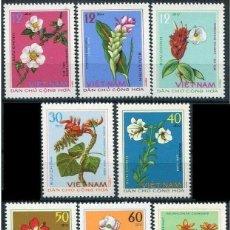 Sellos: VIETNAM DEL NORTE 1975 - FLORES MEDICINALES - YVERT Nº 847/854**. Lote 207876100