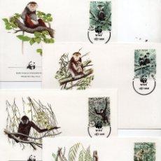 Sellos: VIET.NAM SERIE SOBRES PRIMER DIA 1987 MICHEL 1827 A 1830 WWF. Lote 215509247