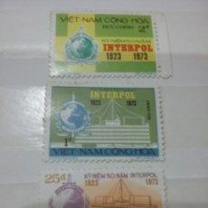 Sellos: SELLOS VIETNAM DEL SUR NUEVO/1973/L/ANIV/INTERPOL/POLICIA/EDIFICOS/EMBLEMA/SEDE/GLOBO/TERRAQUEO//. Lote 218922787