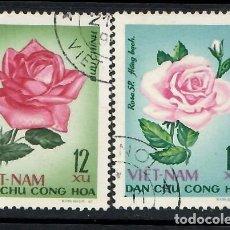 Sellos: VIETNAM DEL NORTE (1968). ROSAS. YVERT 586 Y 588. USADOS.. Lote 288114528