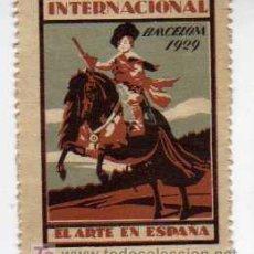 Sellos: VIÑETA - EXPOSICIÓN INTERNACIONAL DE BARCELONA 1929 - EL ARTE EN ESPAÑA. Lote 24831194