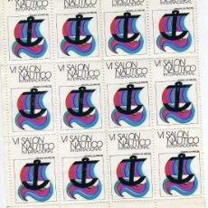 Sellos: LOTE HOJA 12 VIÑETAS - VI SALON NAUTICO INTERNACIONAL - BARCELONA 1968. Lote 26336521