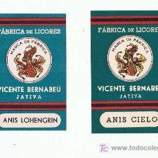 Sellos: LOGOTIPO DE LA GENERALITAT VALENCIA LICORES BERNABEU XATIVA. Lote 139307629