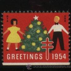 Sellos: S-3029- USA. VIÑETA. GREETINGS 1954. PRO TUBERCULOSOS. CRUZ DE LORENA.. Lote 25335864