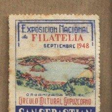Sellos: VIÑETA EXPOSICIÓN NACIONAL DE FILATELIA. SAN SEBASTIÁN 1948. CÍRCULO CULTURAL GUIPUZCOANO.. Lote 26262024