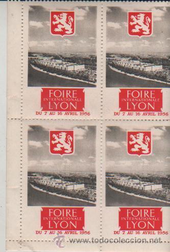 BLOQUE DE 4 VIÑETAS FOIRE LYON 1956 (Sellos - Extranjero - Viñetas)