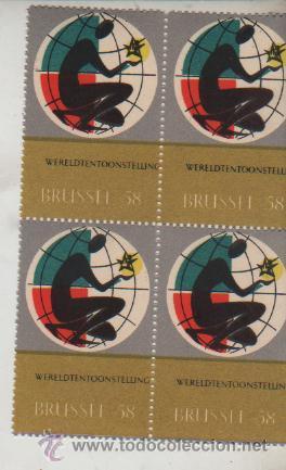 BLOQUE DE 4 VIÑETAS FOIRE BRUSELAS 1958 (Sellos - Extranjero - Viñetas)