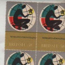 Sellos: BLOQUE DE 4 VIÑETAS FOIRE BRUSELAS 1958. Lote 28960896