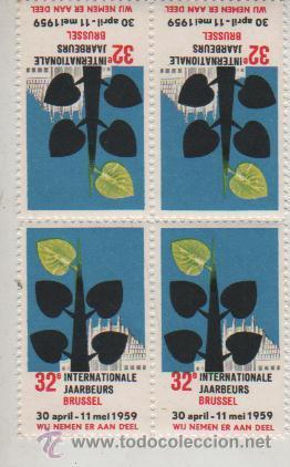 BLOQUE DE 4 VIÑETAS FOIRE BRUSELAS 1959 (Sellos - Extranjero - Viñetas)