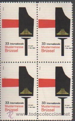 BLOQUE DE 4 VIÑETAS FOIRE BRUSELAS 1960 (Sellos - Extranjero - Viñetas)