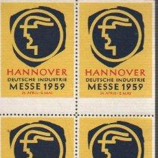 Sellos: BLOQUE DE 4 VIÑETAS ALEMANIA HANNOVER 1959. Lote 29223353