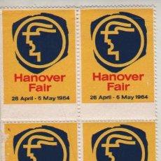 Sellos: BLOQUE DE 4 VIÑETAS ALEMANIA HANNOVER 1964. Lote 28961222