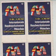 Sellos: BLOQUE DE 4 VIÑETAS ALEMANIA MUNICH MUNCHEN 1964. Lote 28961272