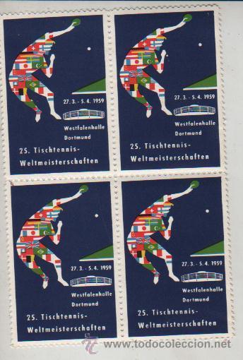 BLOQUE DE 4 VIÑETAS ALEMANIA DORTMUND 1959 TENNIS TENIS (Sellos - Extranjero - Viñetas)