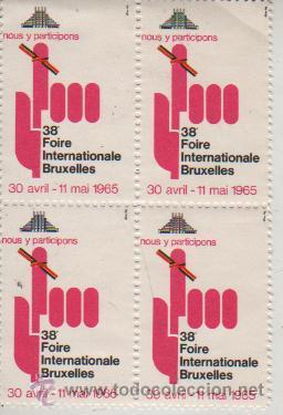BLOQUE 4 VIÑETAS DEBELGICA BRUSELAS BRUXELLES FOIRE INTERNACIONAL 1965 (Sellos - Extranjero - Viñetas)