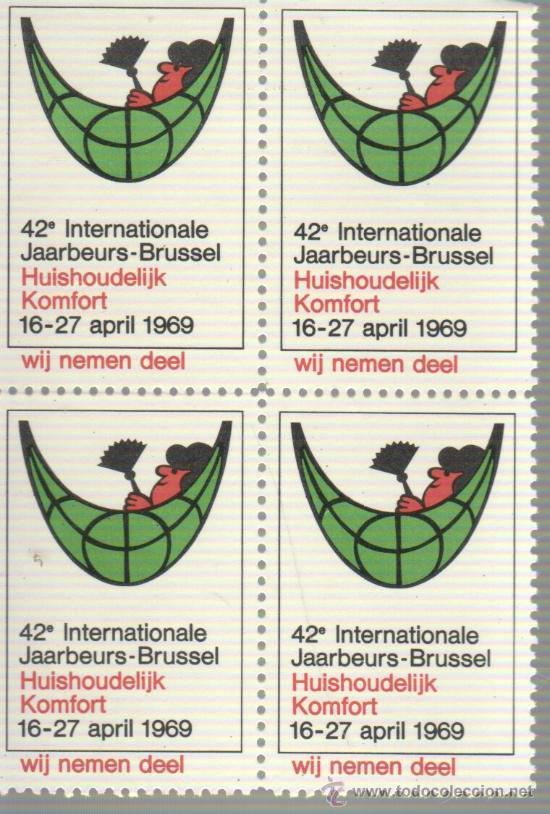 BLOQUE DE 4 VIÑETAS BELGICA BRUSELAS BRUSSEL 1969 (Sellos - Extranjero - Viñetas)