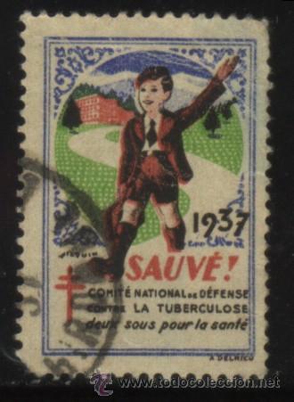 S-4714- FRANCIA. SAUVÉ. COMITÉ NATIONAL DÉFENSE CONTRE TUBERCULOSIS. PRO TUBERCULOSOS. CRUZ LORENA (Sellos - Extranjero - Viñetas)