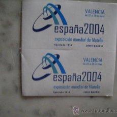 Sellos: 2 VIÑETAS EXPOSICION MUNDIAL DE FILATELIA ESPAÑA 2004,VALENCIA. Lote 32089059