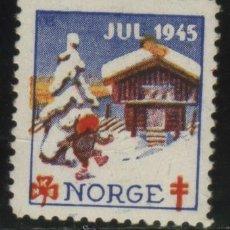 Sellos: S-4950- NORUEGA. NORGE. VIÑETA. JUL 1945. PRO TUBERCULOSOS. CRUZ DE LORENA.. Lote 32100416