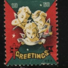 Sellos: S-5041- USA. VIÑETA. GREETINGS 1950. PRO TUBERCULOSOS. CRUZ DE LORENA.. Lote 32398323