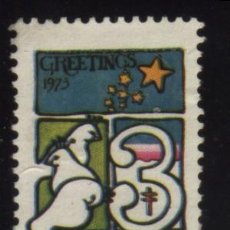 Sellos: S-5045- USA. VIÑETA. GREETINGS 1973. PRO TUBERCULOSOS. CRUZ DE LORENA.. Lote 32405281