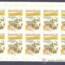 Sellos: HOJITA DE 10 VIÑETAS EXPOFIL MÓNACO 2006. Lote 35831842
