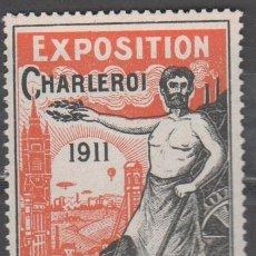 Sellos: F5-22 VIÑETA PUBLICITARIA EXPOSITION CHARLEROI 1911 COLOR NARANJA Y NEGRO NUEVO SIN FIJASELLOS,. Lote 39172211