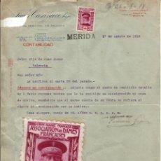 Sellos: 1918 MERIDA VIÑETA CROIX ROUGE FRANÇAISE (FRANCE). C. A. GUÉPRATTE EN CARTA JUAN CASANAVE. Lote 39879989