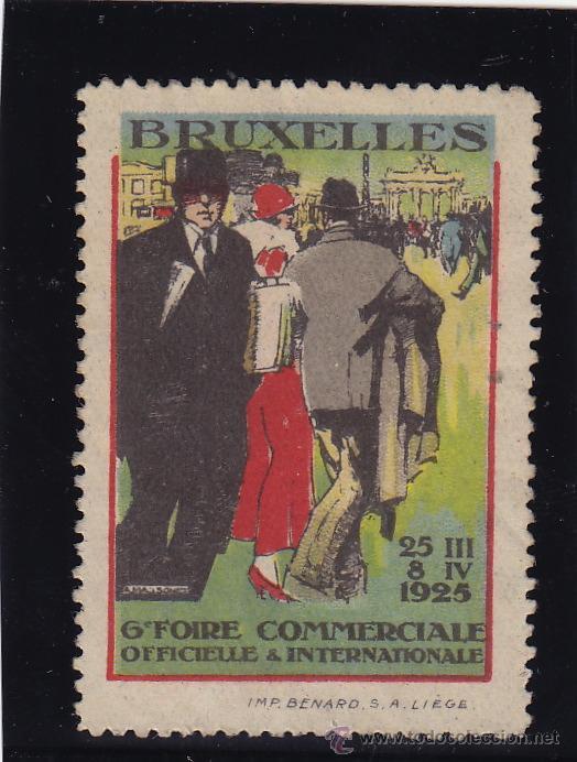VIÑETA BRUSELAS - BRUXELLES .6º FOIRE COMMERCIALE 1925 . USADA (Sellos - Extranjero - Viñetas)