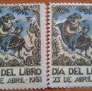 Sellos: 1951 DIA DEL LIBRO - 2 VIÑETAS. Lote 43059762