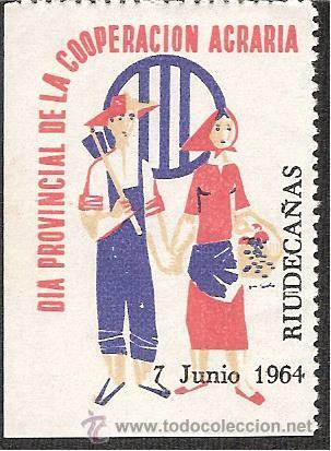 VIÑETA RIUDECAÑAS-RIUDECANYES (TARRAGONA) 1964 -DIA PROV.COOPERACION AGRARIA (Sellos - Extranjero - Viñetas)