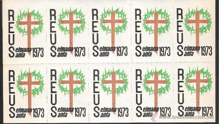 VIÑETAS REUS 1973 SEMANA SANTA ----HOJA COMPLETA---- (Sellos - Extranjero - Viñetas)