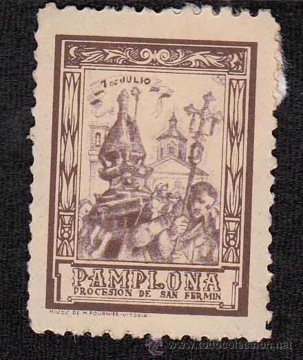 VIÑETA PAMPLONA - SAN FERMIN 7 DE JULIO (Sellos - Extranjero - Viñetas)