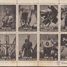 Sellos: VIÑETAS REUS 1954 SEMANA SANTA -HOJA COMPLETA-. Lote 46917441