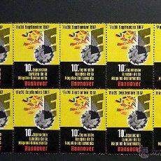Sellos: BLOQUE DE 10 VIÑETAS DE LA FERIA DE MAQUINA-HERRAMIENTA DE HANNOVER DE 1967. Lote 50825819
