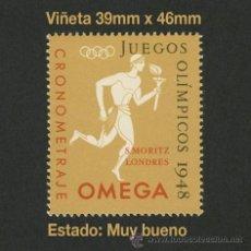 Sellos: VIÑETAS - VIÑETAS - JUEGOS OLÍMPICOS 1948 - CRONOMETRAJE OMEGA - S. MORITZ - LONDRES - CINDERELLA. Lote 110054084