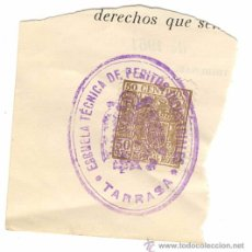 Sellos: VIÑETA CON TAMPON DE LA ESCUELA TECNICA DE PERITOS INDUSTRIALES TARRASA - ESPECIALMOVIL. Lote 54849329