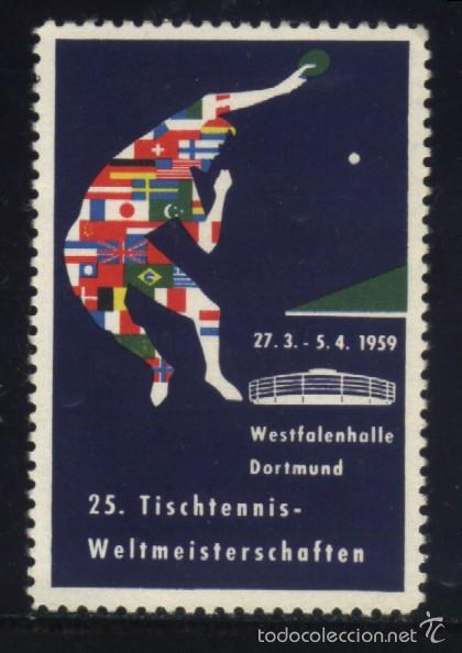 S-0260- ALEMANIA. GERMANY. VIÑETA. WESTFALENHALLE DORTMUND. 25 TISCHTENNIS WELTMEISTERSCHAFTEN. 1959 (Sellos - Extranjero - Viñetas)