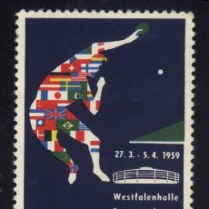Sellos: S-0260- ALEMANIA. GERMANY. VIÑETA. WESTFALENHALLE DORTMUND. 25 TISCHTENNIS WELTMEISTERSCHAFTEN. 1959. Lote 55346809