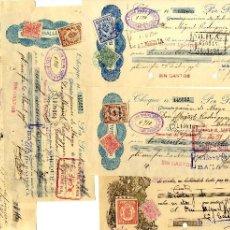 ALMERÍA , GRANADA INTERESANTE CONJUNTO DE 5 CHEQUES CON PÓLIZAS AÑOS 1926-1927
