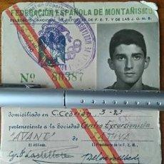 Sellos: RARO CARNET DE LA FEDERACION ESPAÑOLA DE MONTAÑISMO CON DOS CUOTAS 1957 - 1958 JATIVA VALENCIA. Lote 56670948