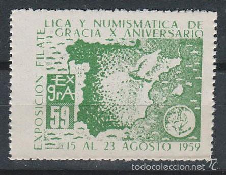 VIÑETA, 1959, MAPA DE ESPAÑA, EXPOSICION DE GRACIA, NUEVA *** (Sellos - Extranjero - Viñetas)