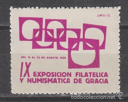 VIÑETA DE LA, EXPOSICION FILATELICA DE GRACIA DEL AÑO 1958, NUEVA *** (Sellos - Extranjero - Viñetas)