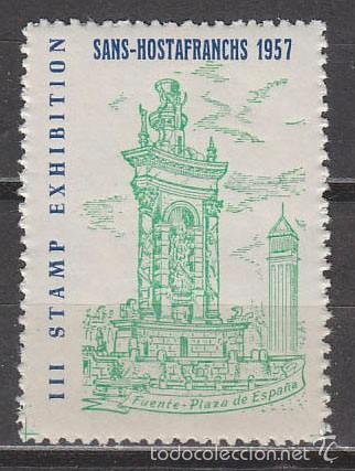 VIÑETA, 1957, FUENTE PLAZA ESPAÑA BARCELONA, EXPOSICION DE SANS, NUEVA *** (Sellos - Extranjero - Viñetas)