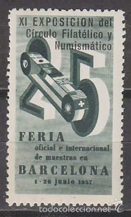 VIÑETA DE LA FERIA DE BARCELONA 1957, VERDE, NUEVA *** (Briefmarken - Internationale - Vignetten)