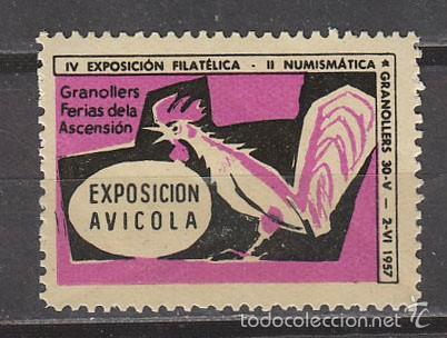 1957, VIÑETA DE GRANOLLERS, EXPOSICION AVICOLA, NUEVA *** (Sellos - Extranjero - Viñetas)