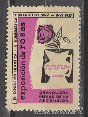 1957, VIÑETA DE GRANOLLERS, EXPOSICION DE ROSAS, NUEVA *** (Sellos - Extranjero - Viñetas)
